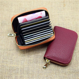 Women Business Card Holder Black Zipper Card Holder Wallet