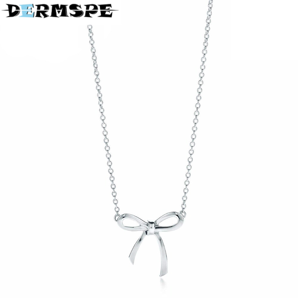 DERMSPE Fashion And Simplicity Bow Pendant Necklace TIFF 925 Sterling Silver Nature Fashion Jewelry Enjoy Complimentary Delivery цены