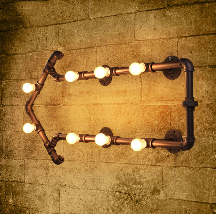 Industrial Rustic Steampunk METAL PIPE Lamp Vintage Loft Arrow Pipe Wall Lamp Bar Light with 8pcs E14 bulbs Lighting Decoration