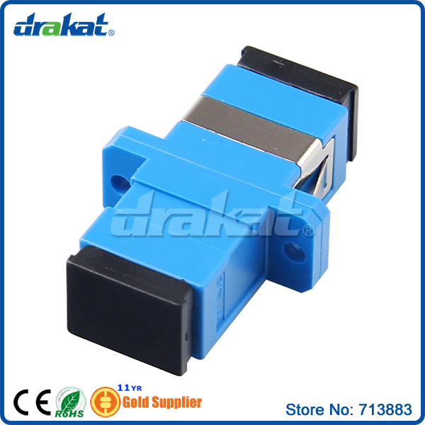Blue Simplex PC Fiber Optic SC Adapter