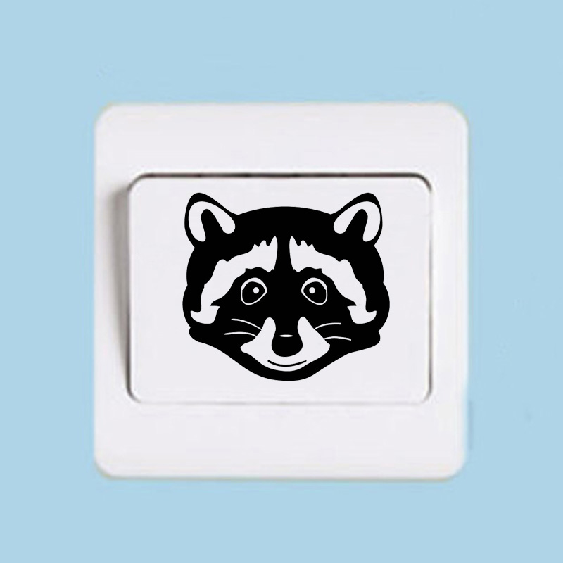 US $0 65 45% OFF|Interesting Raccoon Face Switch Sticker Funny Vinyl Home  Decoration Wall Sticker 2WS0459-in Wall Stickers from Home & Garden on