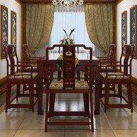 Домашняя мебель, обеденный стол 1 + 6 палисандр 2 М длинные книга стол из массива дерева кресло Аннато спинкой классические деревянные посадк