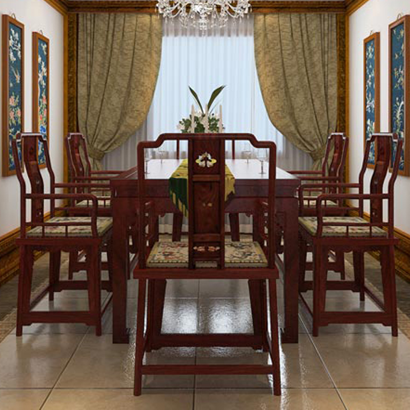 Home Furniture Dining Table Set 1+6 Rosewood 2m Long Book Desk Solid Wood ArmChair Annatto Backed Chair Classical Wooden Fitment classical rosewood armchair backed china retro antique chair with handrails solid wood living dining room furniture factory set