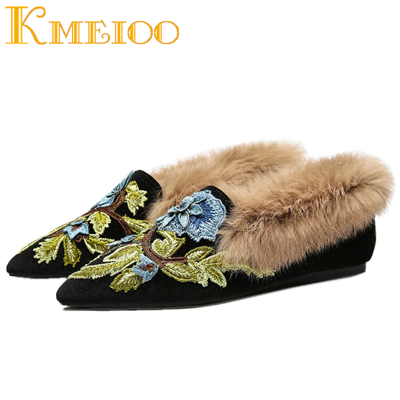 Kmeioo 2018 Fashion Shoes Loafers For Women Embroidery Flat Mule Shoes Plush Lamb Fur Velvet Pointed Toe Mule Slides
