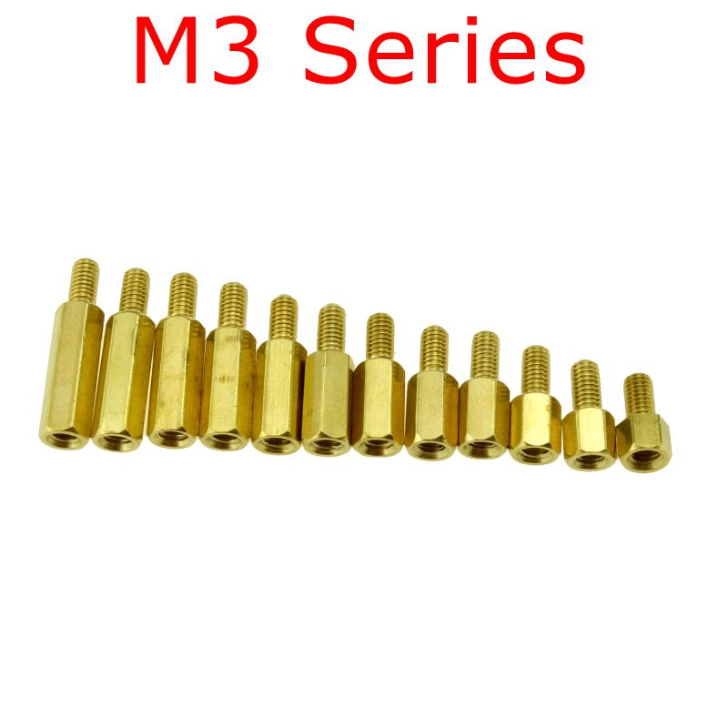 10 pcs M3 Series M3*L+E(6mm) Brass Copper M3 Hex Column Standoff Support Spacer Pillar PCB Board Male to Female m3 m3x16 m3 16 m3x20 m3 20 dual nut brass female to female pcb isolation column hex hexagon pillar spacer standoff stand off