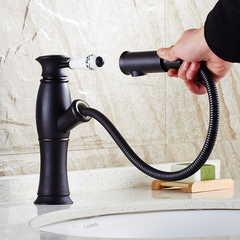 Basin Faucets Pull Out Taps Black Ceramic Single Handle Cock Deck ...