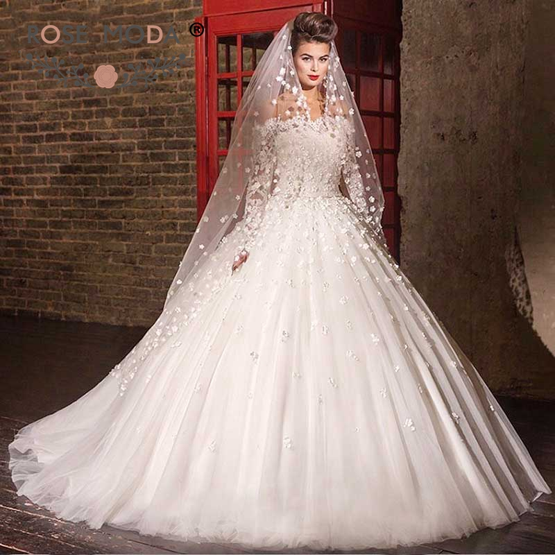 Princess Lace Bridal Ball Gowns Modest Country Wedding: Rose Moda Boat Neck Modest Long Sleeves Wedding Ball Gown