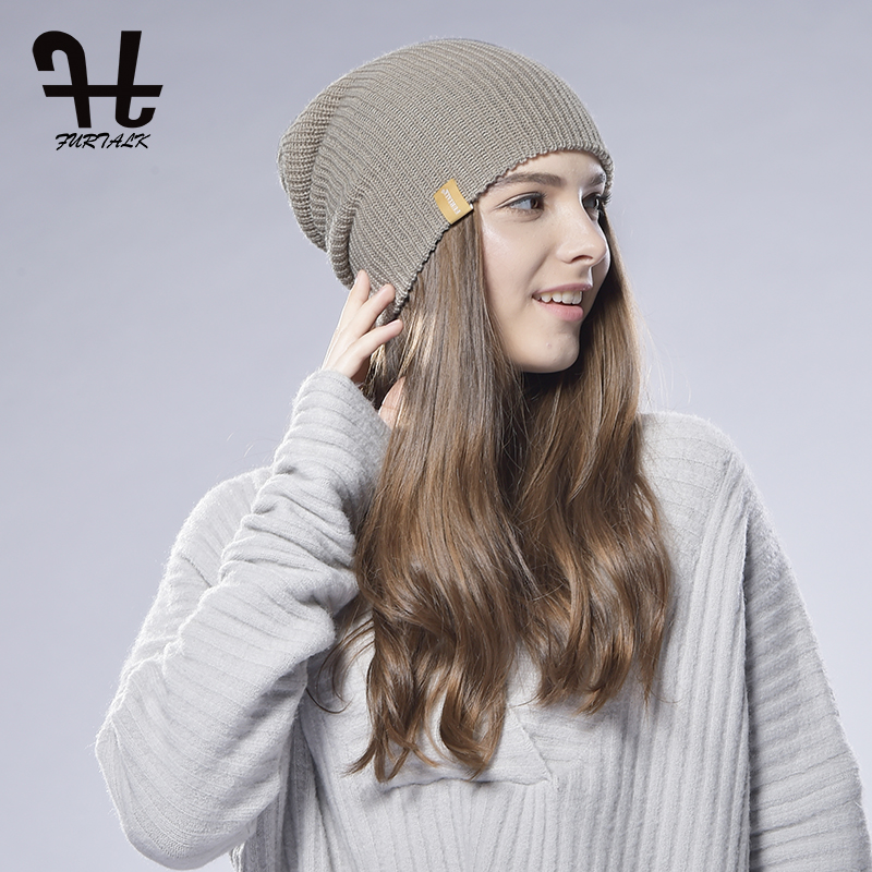 FURTALK Women Spring Knitted Hat Slouchy Beanie Cap Knit Wool Women Cuff  Beanie Hat Spring women s Slouch hat -in Skullies   Beanies from Apparel ... 90abf6b22f11