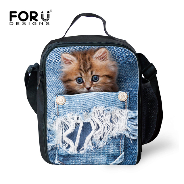 Forudesigns Blue Jeans Animal Cat Lunch Bag For Kids Cute Women Office Box Insulated