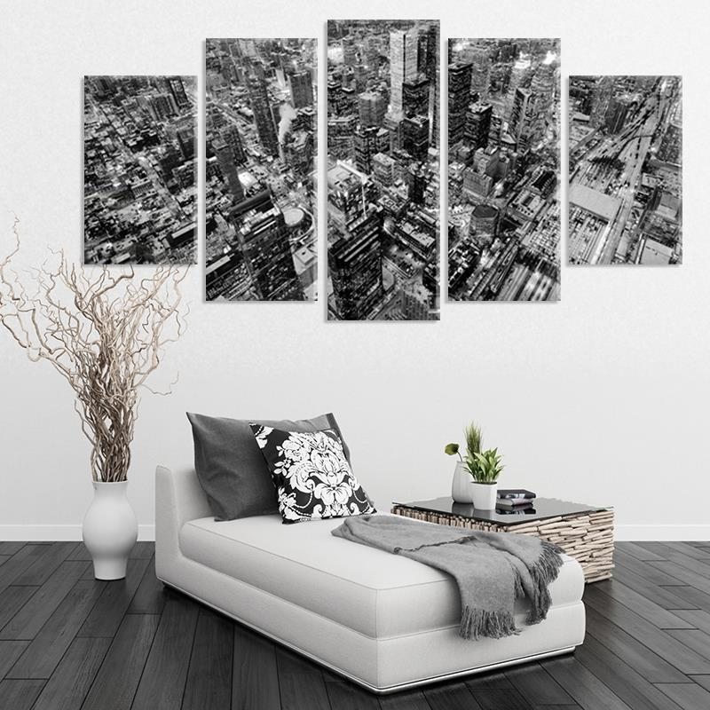 Black And White Artwork For Bedroom: Black And White Aerial Toronto City 5PCS Modern Wall