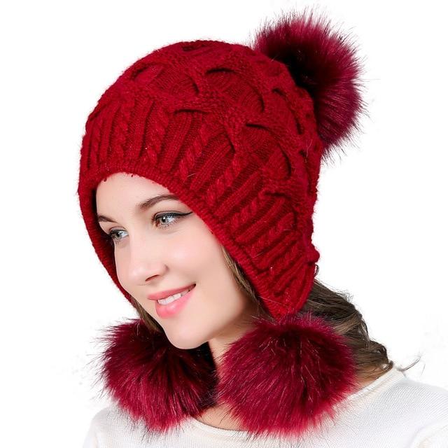 Women s Winter Hat Chunky Knit Double Pom Pom Beanies Cap Faux Fur Pompom Hats  Women Headgear Ear Warmer Bobble Bonnet Gorros ae03c5f3ebb