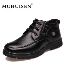 Здесь можно купить   MUHUISEN Brand Winter Genuine Leather Men Boots Plush Comfortable Casual Male Flats Shoes Snow Boots Big Size 38-48 Men