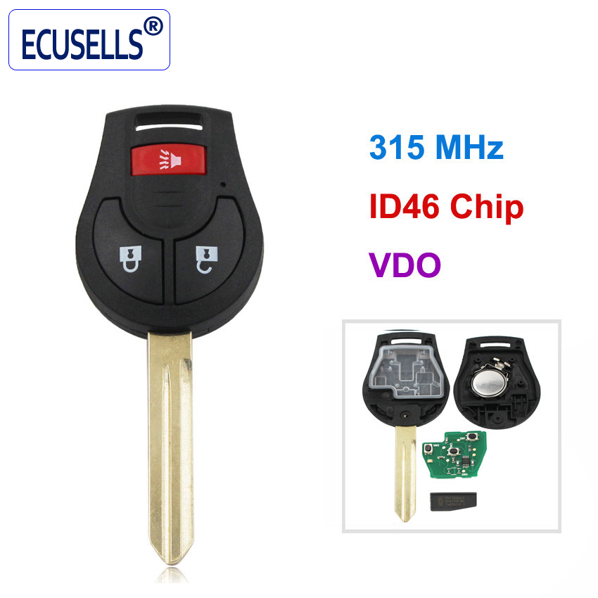2+1 Buttons Remote Key Fob for Nissan VDO 3 Buttons 315Mhz With id46 Chip