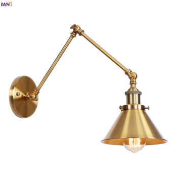 IWHD Loft Style Edison Retro Wall Lights Fixtures Bedroom Living Room Adjustable Swing Long Arm Wall  Lamp Sconce Vintage Lampen iwhd style loft industrial wall lamp vintage adjustable swing long arm wall light fixtures glass ball lampshade