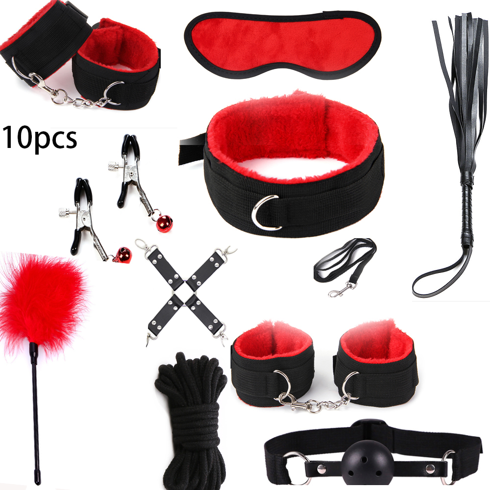factory Outlet 10 Pcs/set Sexy Lingerie BDSM <font><b>Sex</b></font> Bondage Set <font><b>Hand</b></font> Cuffs Footcuff <font><b>Whip</b></font> Rope Blindfold Erotic <font><b>Sex</b></font> Toys For Couples image