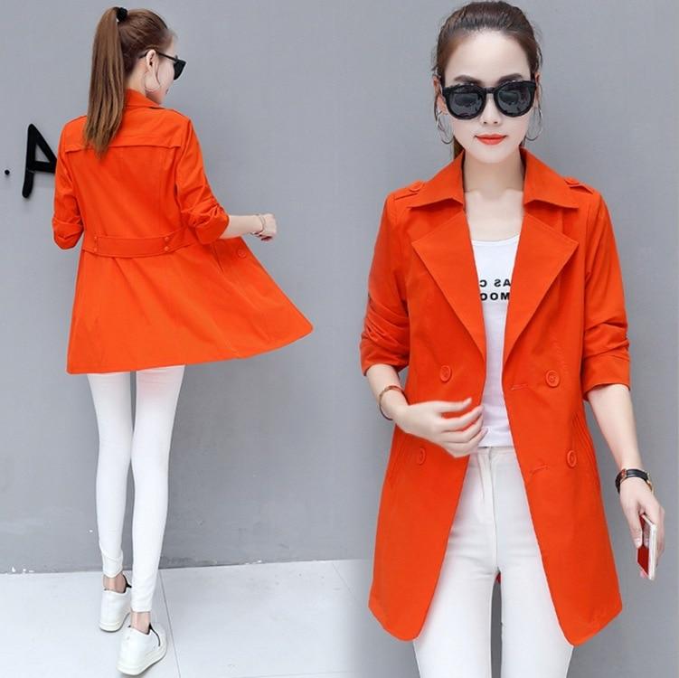 KJA128 2018 Korean New Autumn Women Clothing Solid Color Windbreaker Female Long Fashion Coats Trench Veste Femme Manche Longue