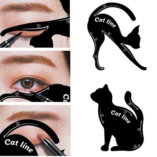 Caliente DIY 2 unids/set mujeres línea de gato delineador de ojos plantillas Pro ojo maquillaje herramienta ojo plantilla modelador modelo fácil de hacer hasta el juego de herramientas
