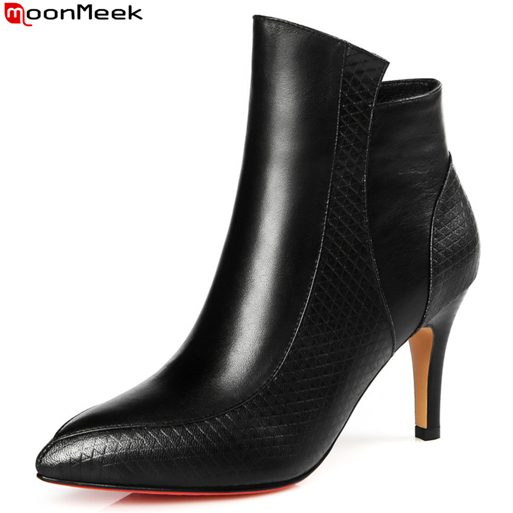 MoonMeek fashion new arrive women boots pointed toe genuine leather boots black red zipper cow leather ankle boots autumn winter цена 2017