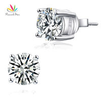 Wholesale 2 Carat Clear CZ Simulated Diamond Solid 925 Sterling Silver Stud Earrings Jewelry CFE8114