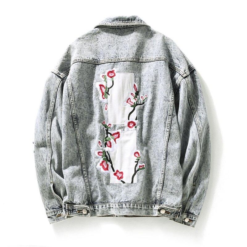 Bending line Japan Style Embroidery Peach Retro Vintage Hole Denim Jacket Men Wash White Jeans Jacket Men Bomber Mens Coat