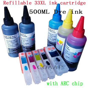 Compatible 33XL Refillable cartridge for EPSON XP-830 XP-900 XP-530 XP-540 XP-630 XP-640 XP-635 XP-645 Printer + 500ml Dye ink