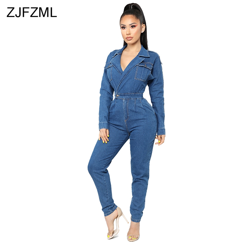 Turn-Down Collar Sexy Denim   Jumpsuit   2019 Women Blue Deep V Neck Long Sleeve One Piece Overall Vintage Ladies Pockets Bodysuits