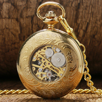 Luxury Gift Gold Pocket Watch Vintage Pendant Watch Necklace Chain Antique Fob Watches Roman Number Clock
