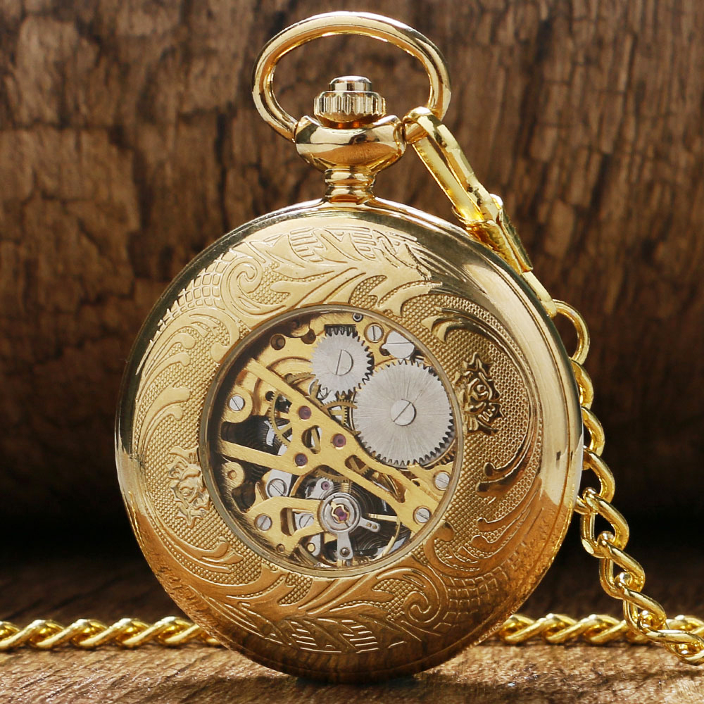 Luxury Gift Gold Pocket watch Vintage Pendant Watch Necklace Chain Antique Fob Watches Roman Number Clock Pocket Relogio bolso automatic mechanical pocket watches vintage transparent skeleton open face design fob watch pocket chain male reloj de bolso