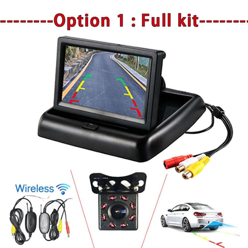 Car Foldable Color Display Monitor+Backup Reverse License Plate View Camera Kit