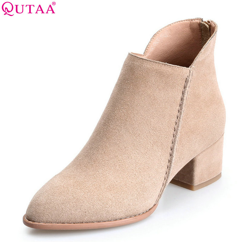 QUTAA 2018 Women Ankle Boots Cow Suedezipper Fashion Pointed Toe All Match Square High Heel High Quality Women Boots Size  34-39 nemaone 2018 women ankle boots square high heel pointed toe zipper fashion all match spring and autumn ladies boots