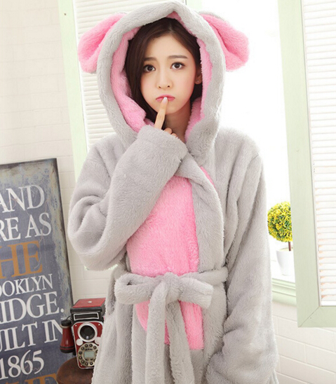 Women Cartoon Flannel Bathrobes Lady Warm Winter Robes Gray Rabbit Pajama Coral Fleece Thick Shower Towels