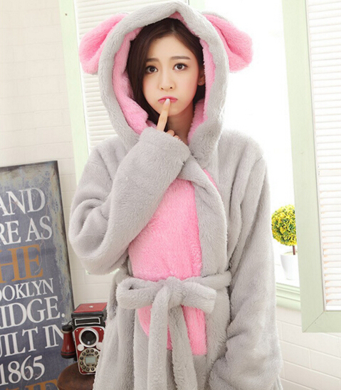 Women Cartoon Flannel Bathrobes Lady Warm Winter Robes Gray Rabbit Pajama  Coral Fleece Thick Shower Towels 45d9216a8
