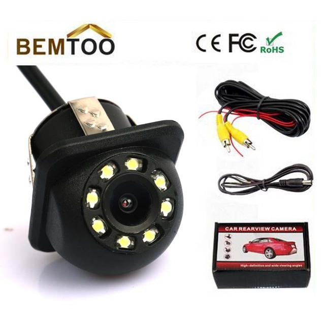 170 Wide Angle 8 LED Light Night Vision Car CCD Rear View Camera Reverse Backup Color parking Camera,Free Shipping