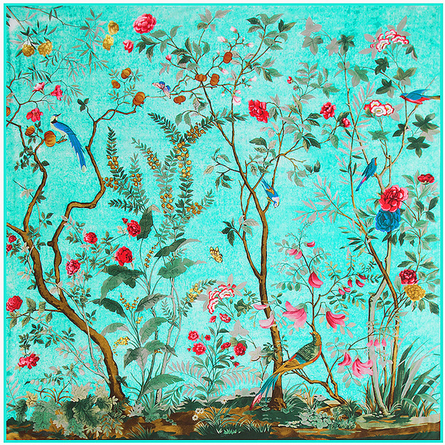 New130*130 Flowers and birds jungle silk satin scarf for women Russian shawl Arab hijab scarves with Clothing Wraps foulard A112