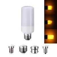 ちらつき炎効果ledランプ電球e27/e26/e14/e12/b22装飾ランプ3モードを燃やす発射ledトウモロコシ電球220ボルト110ボル