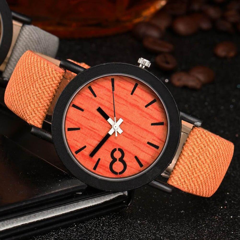 Fashion Vintage Men Women Watches Denim Strap Quartz Watch Wooden Pattern Dial Ladies Girls Wristwatch LL@17 стоимость