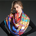 2016 Silk Scarf Hot Sale Style 100% Silk Twill Square Scarf Shawl Spring Autumn Chain Women Silk Scarves Wraps high quality