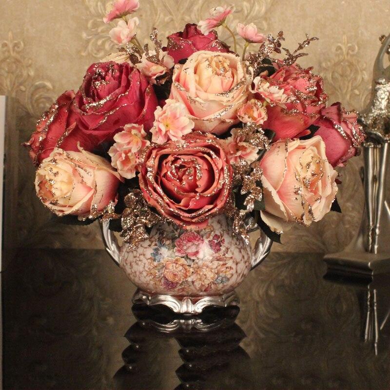 European Luxury Ceramic Vase+Artificial Peony Flower Bouquet Figurines American Livingroom Fake Flower Pot Crafts Decoration Art
