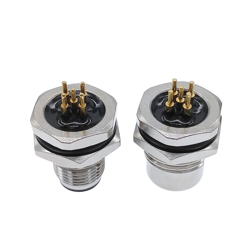 PCB Sensor Connector Panel M12 Front Nut Flange Socket M1216 Waterproof Connectors 4 5 8pin Screw Threaded Coupling Male Female