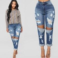 2019 новинка женская разрушенная рваные проблемные тонкие джинсовые джинсы женские джинсы сексуальны