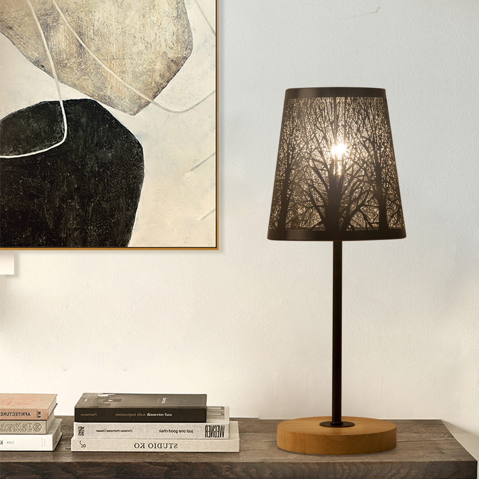 Retro Wrought Iron Lamp Shade And Wood Lampholder Table