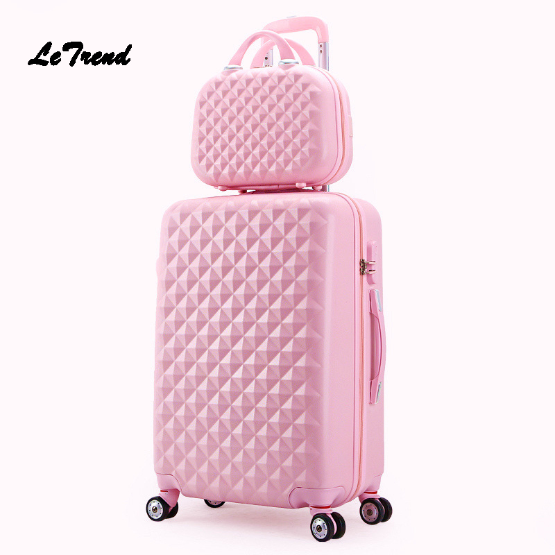 LeTrend KoreanStudent Rolling Luggage Set Spinner Women Trolley Suitcase Wheels 20 inch Travel bag Password Carry On Trunk letrend rolling luggage spinner suitcase wheels trolley women travel bag 20 inch student carry on password hardside trunk men