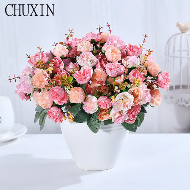 21 Heads/Bouquet Silk Rose European Style Artificial Flower High ...