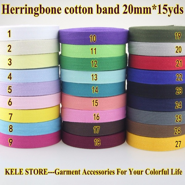 Free shipping DIY handmade 100% Cotton tape herringbone/ twill cotton tape/ size 2cm 20mm,15yds solid color in red white black