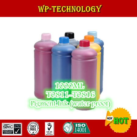 1L*6pcs, Pigment <font><b>ink</b></font> suit for <font><b>Epson</b></font> T0811 - T0816 series ,suit for <font><b>Epson</b></font> R390 RX590 <font><b>R270</b></font> RX690 RX610 RX615 R295 1410 etc image