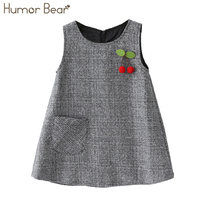 Humor Bear Kids Dress 2017 New Girls Sleeveless Little Cherry Design Vest Dress Princess Dress Baby
