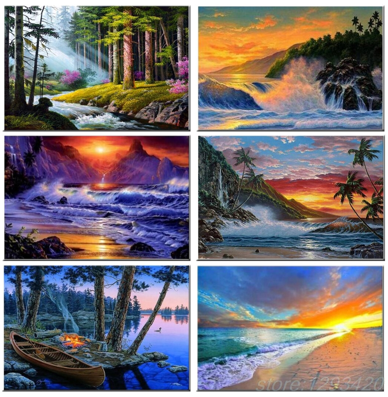 5D DIY Diamond Painting scenery landscape fallwater full Square Diamond embroidery trees Kits Pictures of crystals home deocr in Diamond Painting Cross Stitch from Home Garden