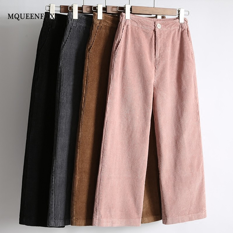 New Women's   Pants   2019 Women Autumn Winter High Waist   Wide     Leg     Pants   casual Loose Corduroy Cropped Trousers