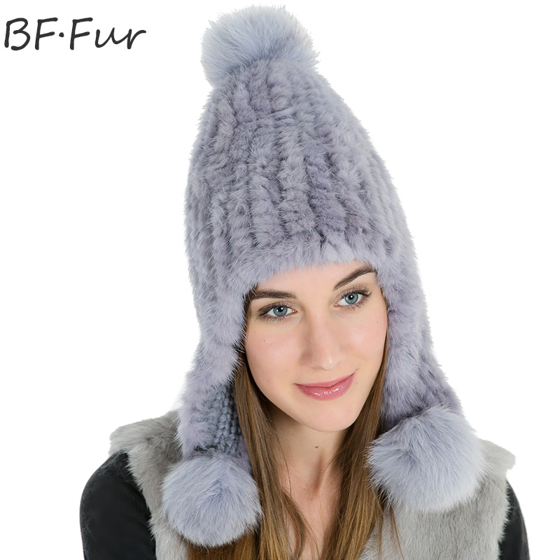 Russian Winter Real Mink Fur Hat For Female Warm Knitted Cotton Bonnet Girls Animal Natural Solid Color Pompom Casual Adult Cap russian real mink fur hat for female animal fur winter warm beanies fashion solid color cap natural color bonnet girls hats