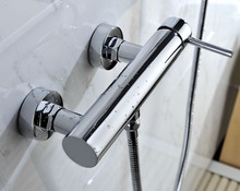 Single Lever Round Body Chrome Shower Faucet with ABS Hand shower and Flexible hose